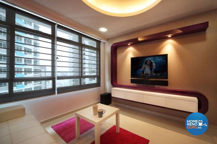 Minimalist, Retro Design - Living Room - HDB 4 Room - Design by De Exclusive Interior Group Pte Ltd