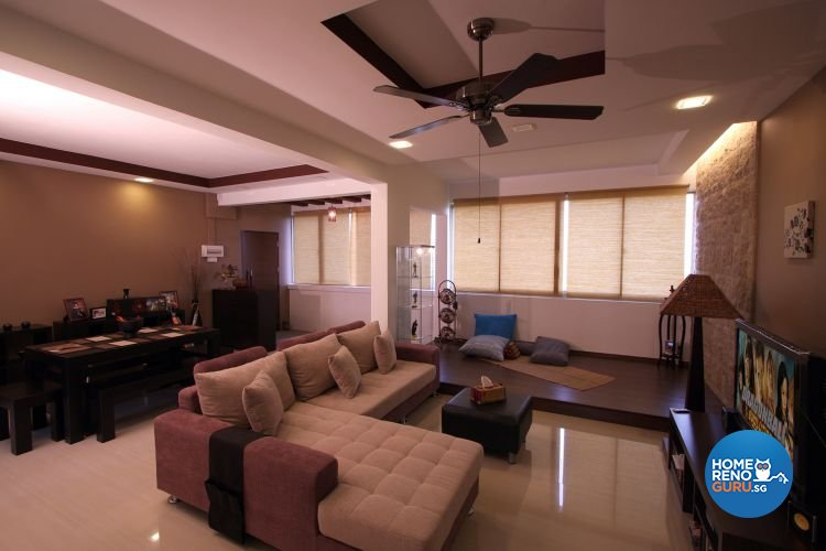 Modern, Tropical Design - Living Room - HDB 5 Room - Design by De Exclusive Interior Group Pte Ltd