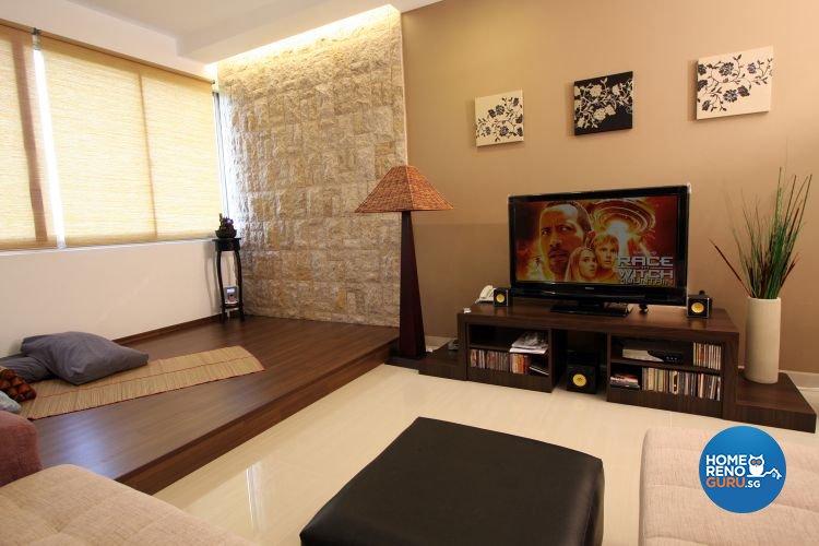 Modern, Tropical Design - Living Room - HDB 5 Room - Design by De Exclusive Interior Group Pte Ltd