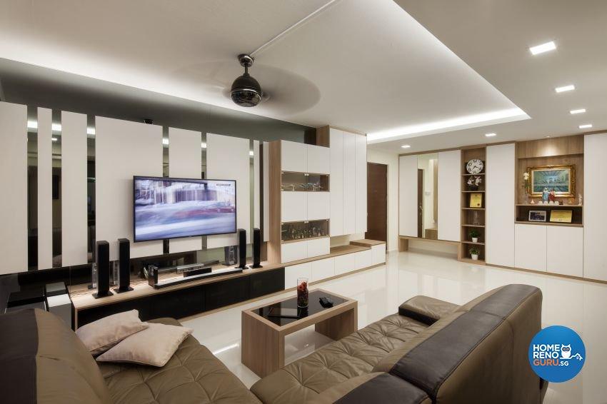 Minimalist, Modern Design - Living Room - HDB 5 Room - Design by De Style Interior Pte Ltd