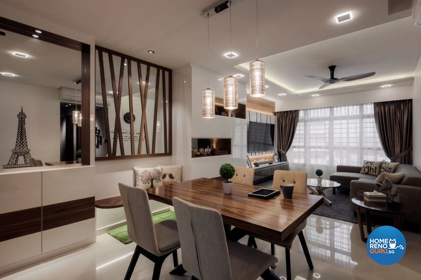 Contemporary Design - Dining Room - HDB 4 Room - Design by De Style Interior Pte Ltd