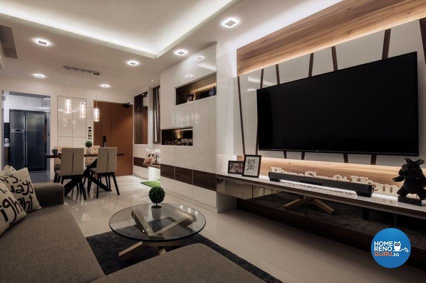 Contemporary Design - Living Room - HDB 4 Room - Design by De Style Interior Pte Ltd