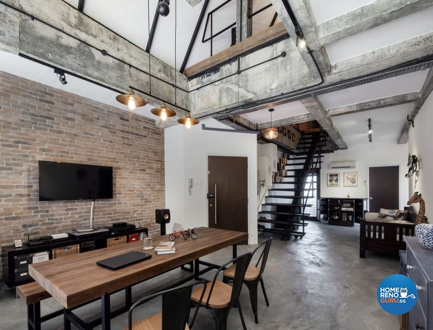 Industrial, Rustic Design - Dining Room - HDB 3 Room - Design by De Style Interior Pte Ltd
