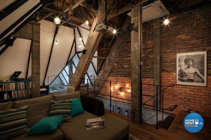 Industrial, Rustic Design - Entertainment Room - HDB 3 Room - Design by De Style Interior Pte Ltd