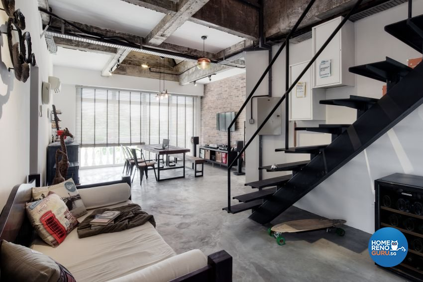 Industrial, Rustic Design - Living Room - HDB 3 Room - Design by De Style Interior Pte Ltd