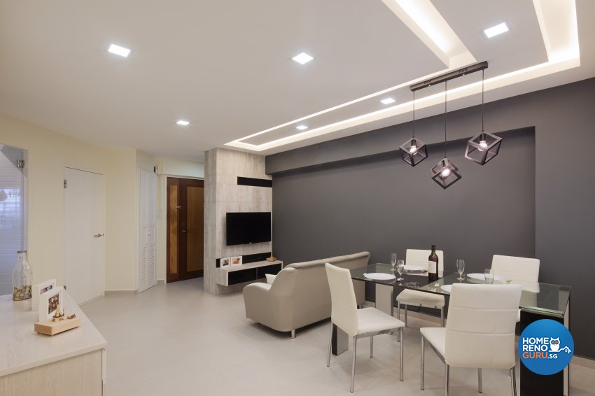Modern Design - Living Room - HDB 3 Room - Design by De Style Interior Pte Ltd
