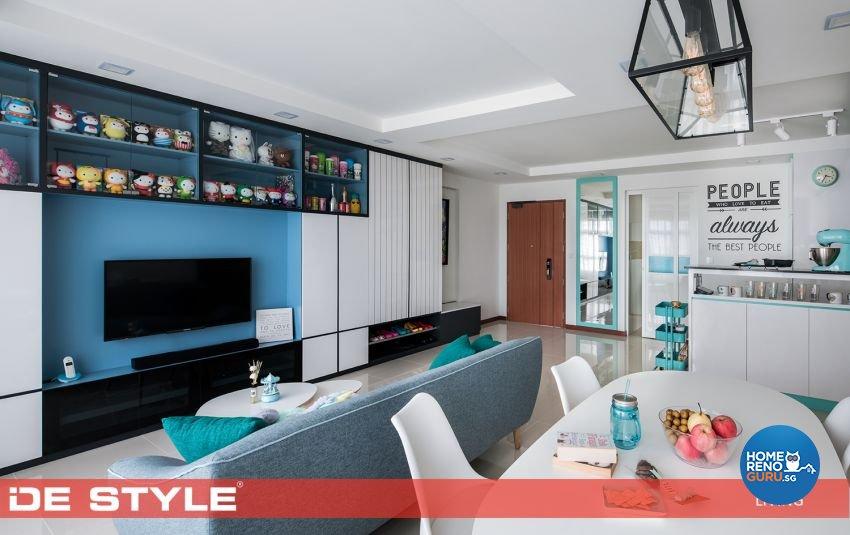 Modern, Vintage Design - Living Room - HDB 5 Room - Design by De Style Interior Pte Ltd