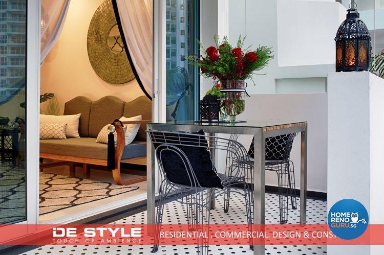 Rustic, Vintage Design - Balcony - Condominium - Design by De Style Interior Pte Ltd