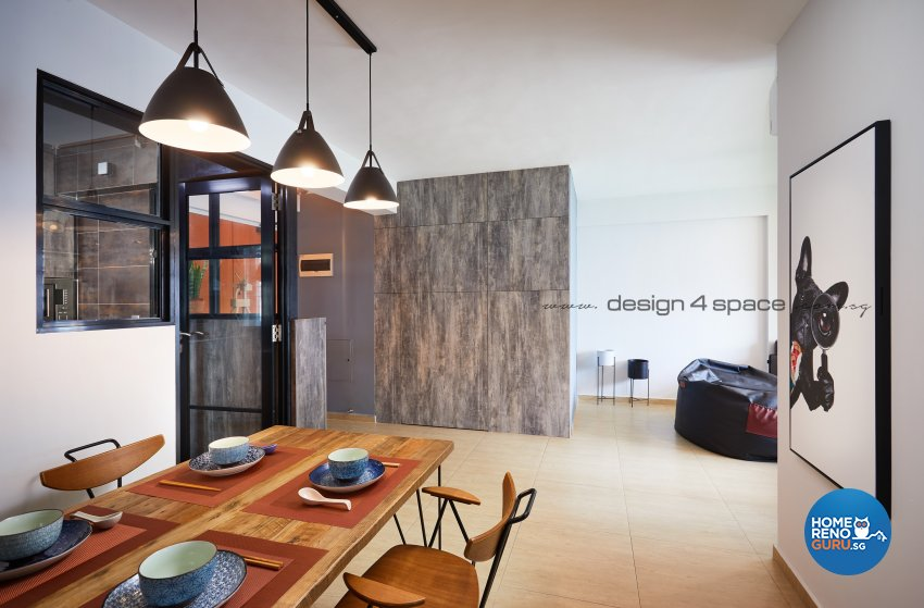 Industrial Design - Dining Room - HDB 4 Room - Design by Design 4 Space Pte Ltd