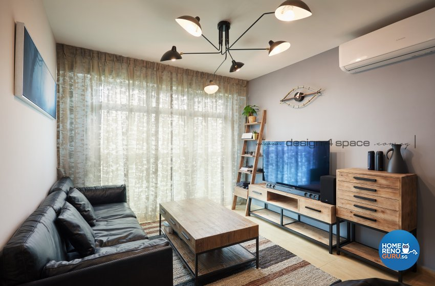 Industrial Design - Living Room - HDB 4 Room - Design by Design 4 Space Pte Ltd
