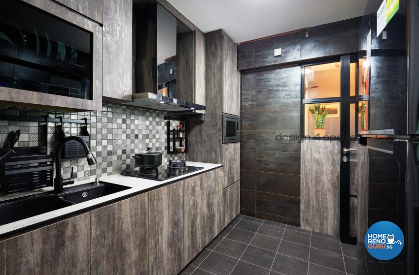 Industrial Design - Kitchen - HDB 4 Room - Design by Design 4 Space Pte Ltd
