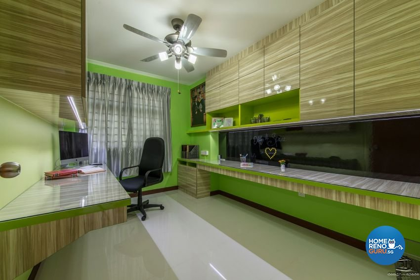 Contemporary, Modern, Retro Design - Study Room - HDB 4 Room - Design by Design 4 Space Pte Ltd