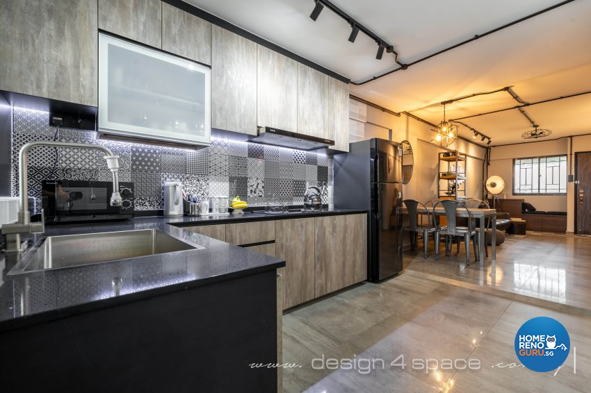 Retro Design - Kitchen - HDB 3 Room - Design by Design 4 Space Pte Ltd