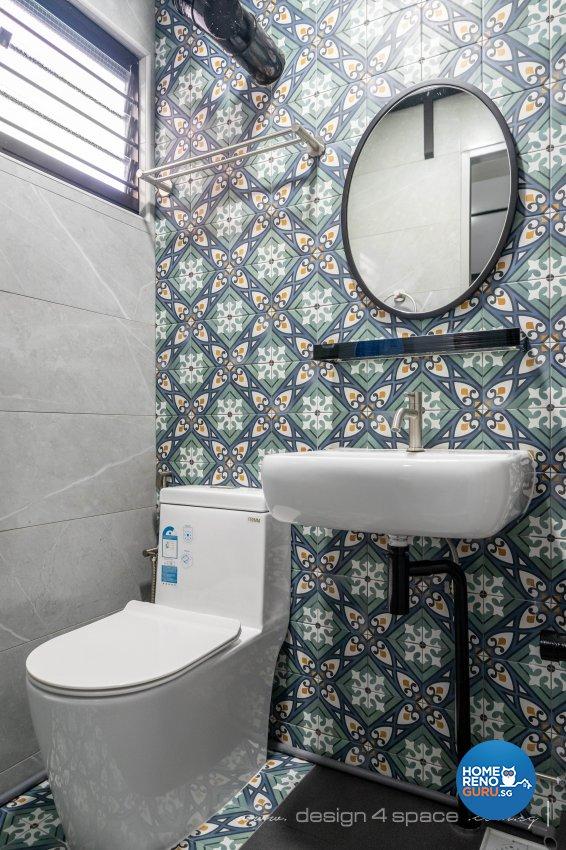 Retro Design - Bathroom - HDB 3 Room - Design by Design 4 Space Pte Ltd