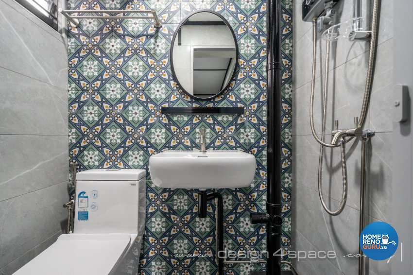 Retro Design - Bathroom - HDB 3 Room - Design by Design 4 Space Pte Ltd