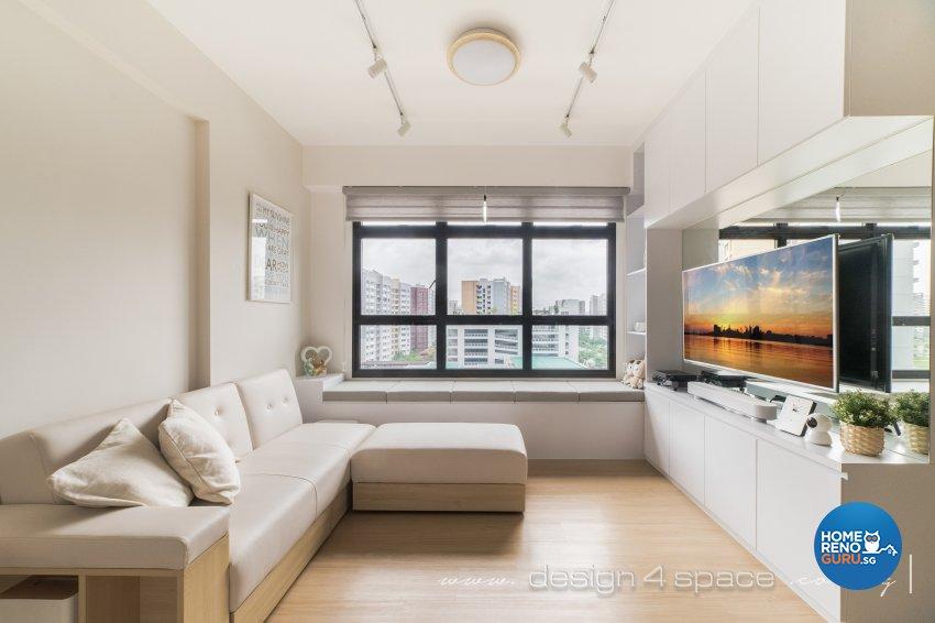 Minimalist, Scandinavian Design - Living Room - HDB 3 Room - Design by Design 4 Space Pte Ltd