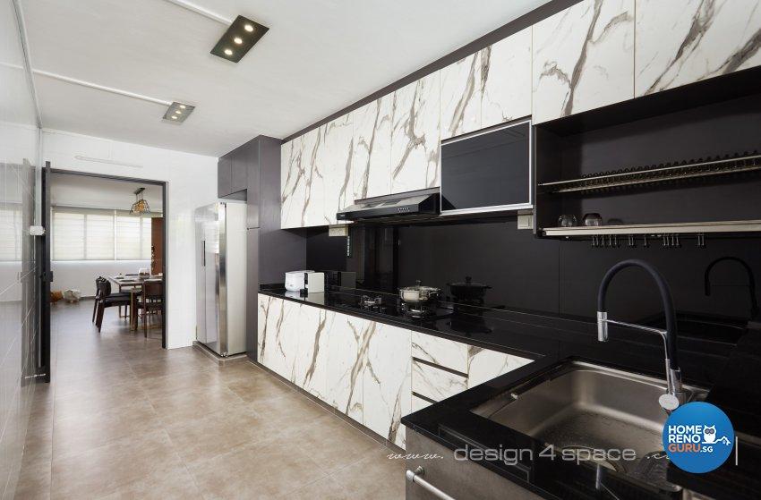 Industrial, Modern Design - Kitchen - HDB 3 Room - Design by Design 4 Space Pte Ltd
