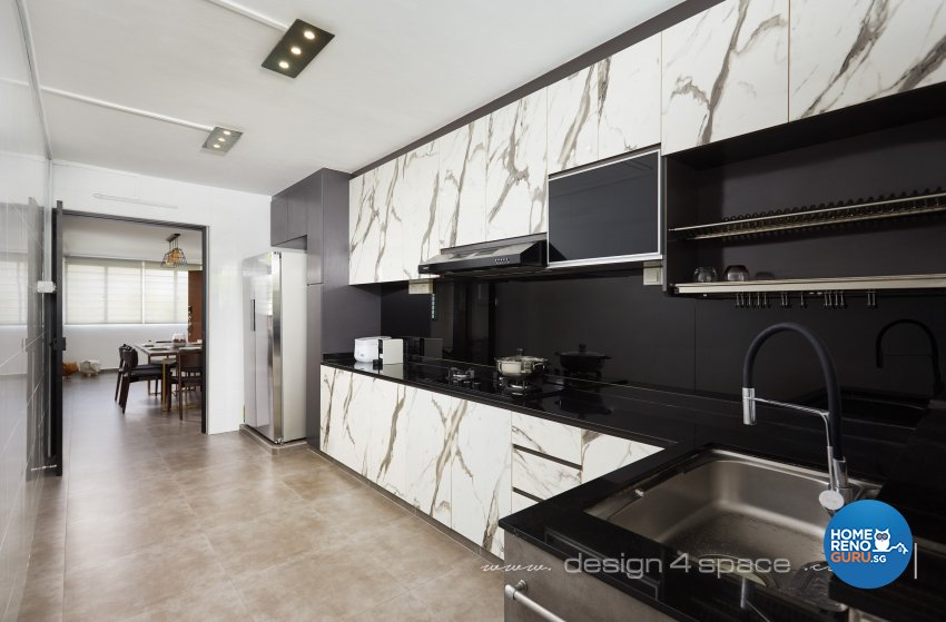 Industrial, Modern Design - Kitchen - HDB 3 Room - Design by Design 4 Space Pte Ltd