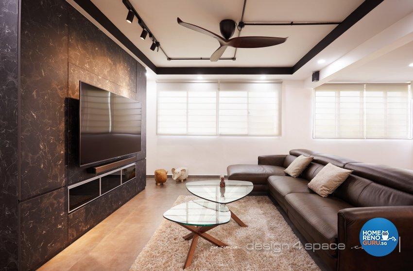 Industrial, Modern Design - Living Room - HDB 3 Room - Design by Design 4 Space Pte Ltd