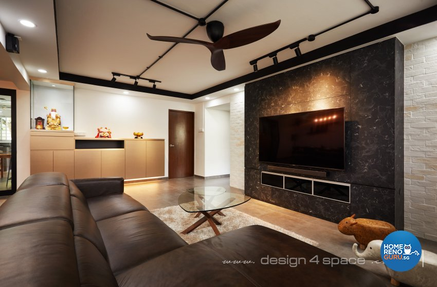 Industrial, Modern Design - Living Room - HDB 3 Room - Design by Design 4 Space Pte Ltd