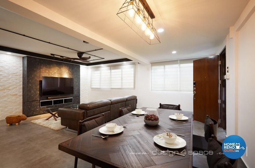 Industrial, Modern Design - Dining Room - HDB 3 Room - Design by Design 4 Space Pte Ltd
