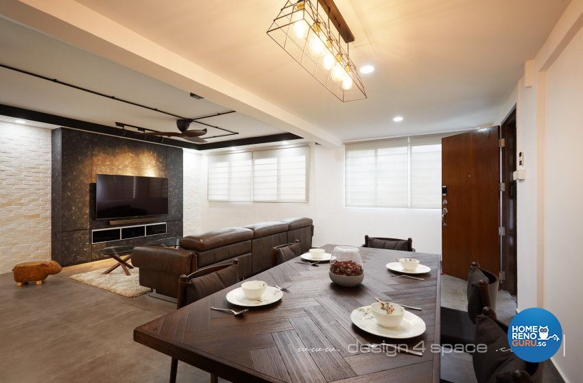 Industrial, Modern Design - Dining Room - HDB 3 Room - Design by Design 4 Space Pte Ltd