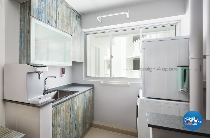 Industrial, Retro Design - Kitchen - HDB 3 Room - Design by Design 4 Space Pte Ltd