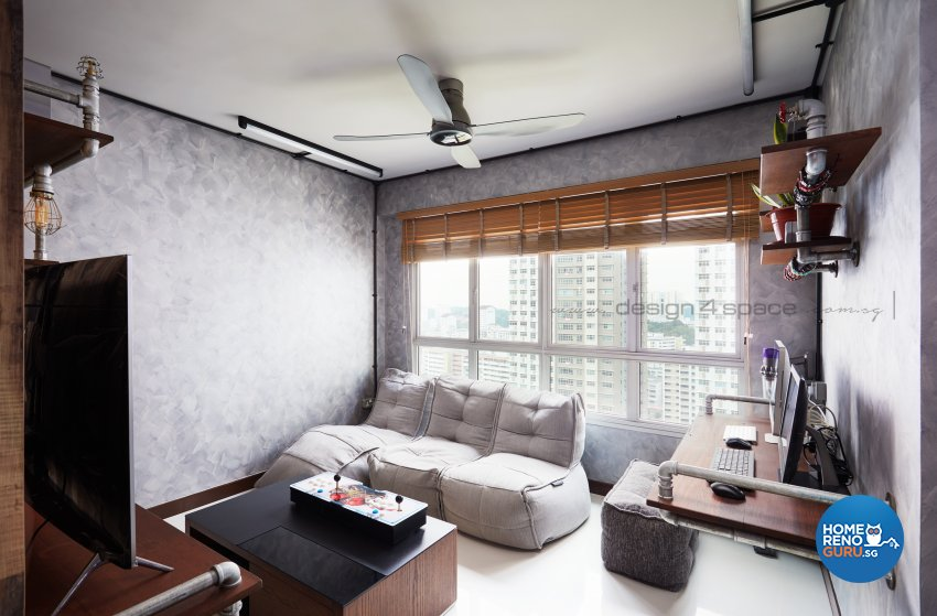 Industrial, Retro Design - Living Room - HDB 3 Room - Design by Design 4 Space Pte Ltd