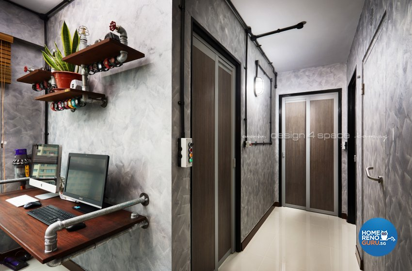 Industrial, Retro Design - Study Room - HDB 3 Room - Design by Design 4 Space Pte Ltd