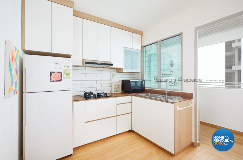 Minimalist, Modern Design - Kitchen - HDB 3 Room - Design by Design 4 Space Pte Ltd