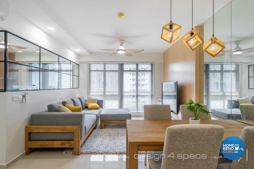 Minimalist, Scandinavian Design - Living Room - HDB 4 Room - Design by Design 4 Space Pte Ltd