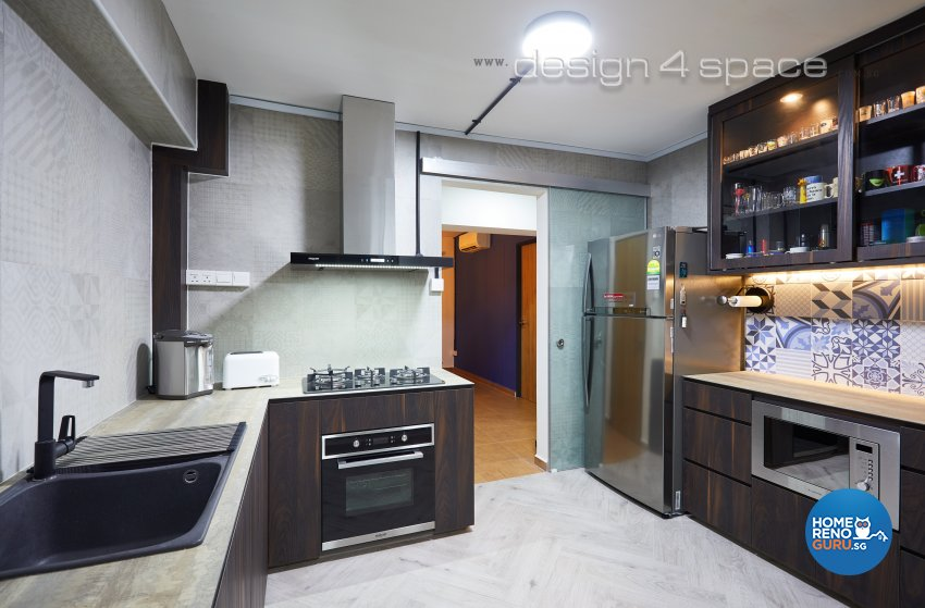 Contemporary, Industrial, Rustic Design - Kitchen - HDB 4 Room - Design by Design 4 Space Pte Ltd