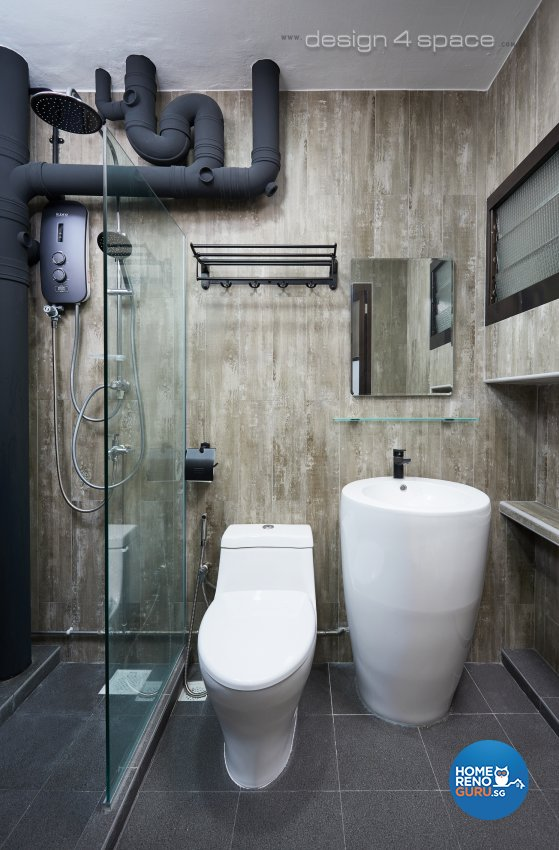 Contemporary, Industrial, Rustic Design - Bathroom - HDB 4 Room - Design by Design 4 Space Pte Ltd
