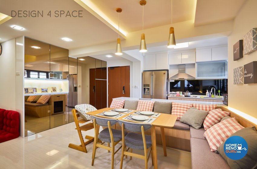 Contemporary, Country, Modern Design - Dining Room - HDB 4 Room - Design by Design 4 Space Pte Ltd