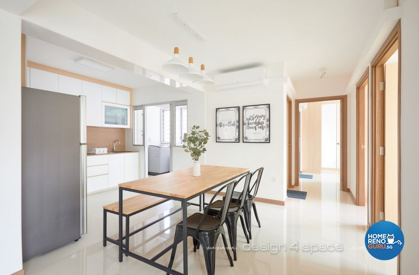 Minimalist, Scandinavian Design - Dining Room - HDB 4 Room - Design by Design 4 Space Pte Ltd