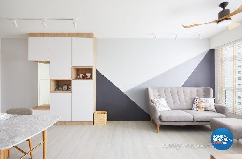 Contemporary, Scandinavian Design - Living Room - HDB 4 Room - Design by Design 4 Space Pte Ltd