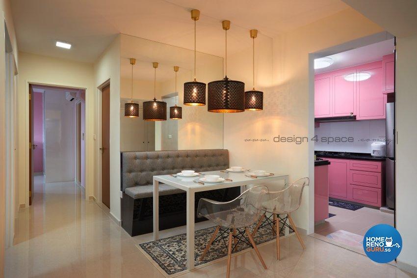 Minimalist, Victorian Design - Dining Room - HDB 4 Room - Design by Design 4 Space Pte Ltd