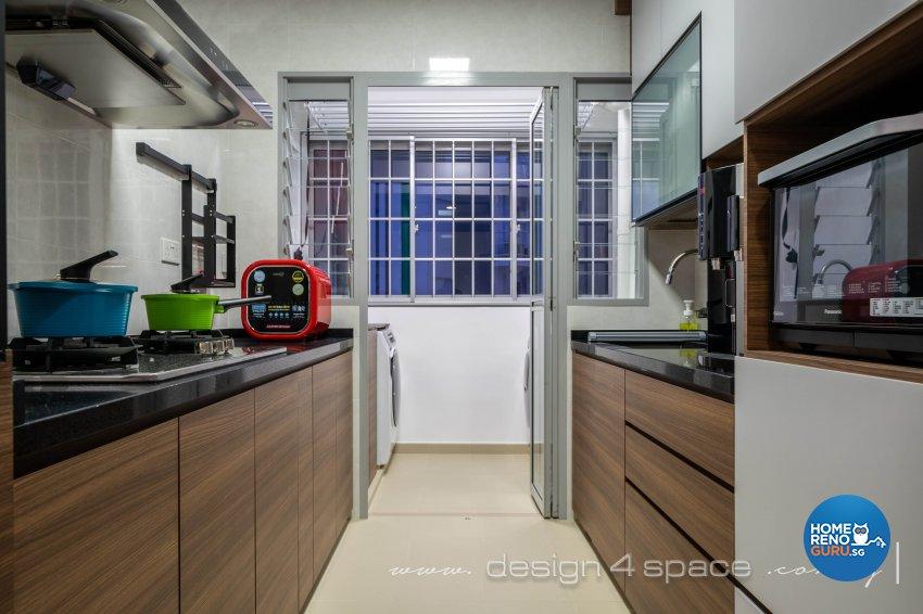 Minimalist, Modern Design - Kitchen - HDB 4 Room - Design by Design 4 Space Pte Ltd