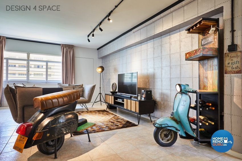 Industrial, Modern, Retro Design - Living Room - HDB 4 Room - Design by Design 4 Space Pte Ltd