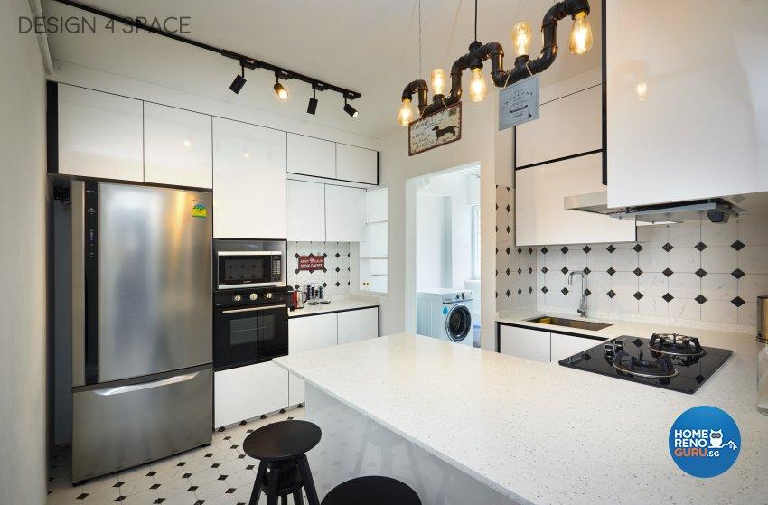 Industrial, Modern, Retro Design - Kitchen - HDB 4 Room - Design by Design 4 Space Pte Ltd