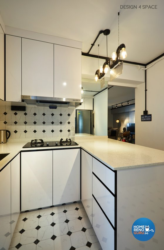 Industrial, Modern, Retro Design - Kitchen - HDB 4 Room - Design by Design 4 Space Pte Ltd
