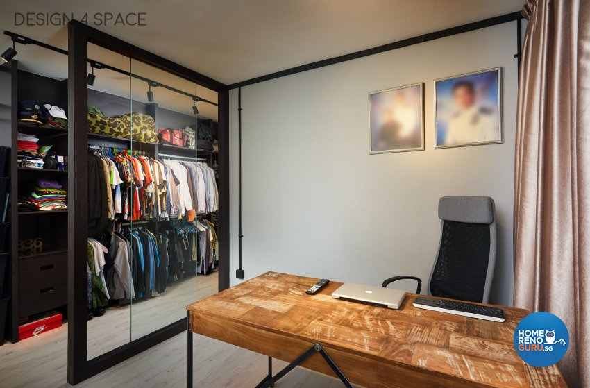 Industrial, Modern, Retro Design - Study Room - HDB 4 Room - Design by Design 4 Space Pte Ltd