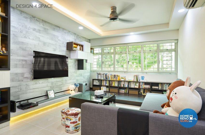 Contemporary, Modern Design - Living Room - HDB 4 Room - Design by Design 4 Space Pte Ltd