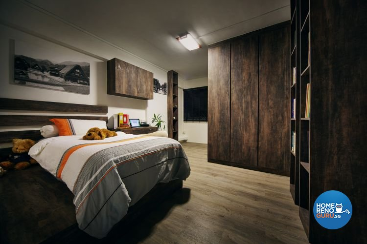 Country, Rustic Design - Bedroom - HDB 4 Room - Design by Design 4 Space Pte Ltd