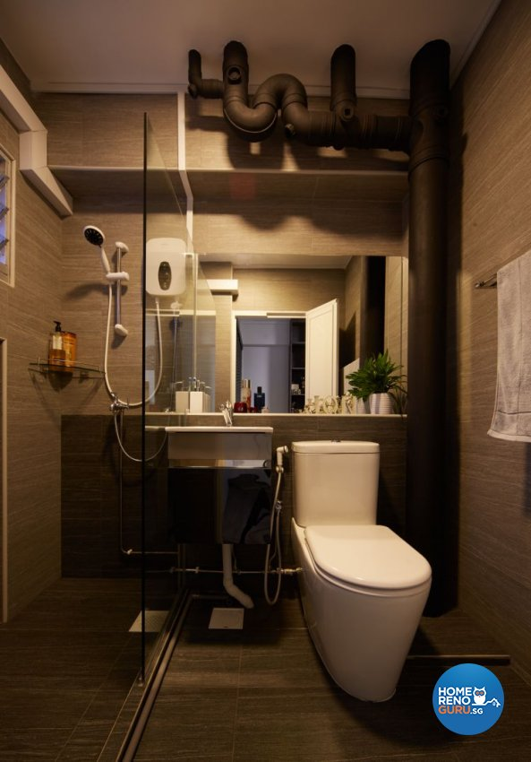 Country, Rustic Design - Bathroom - HDB 4 Room - Design by Design 4 Space Pte Ltd