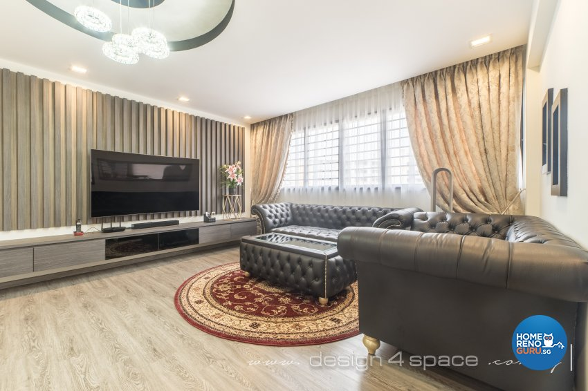 Classical, Tropical Design - Living Room - HDB 5 Room - Design by Design 4 Space Pte Ltd
