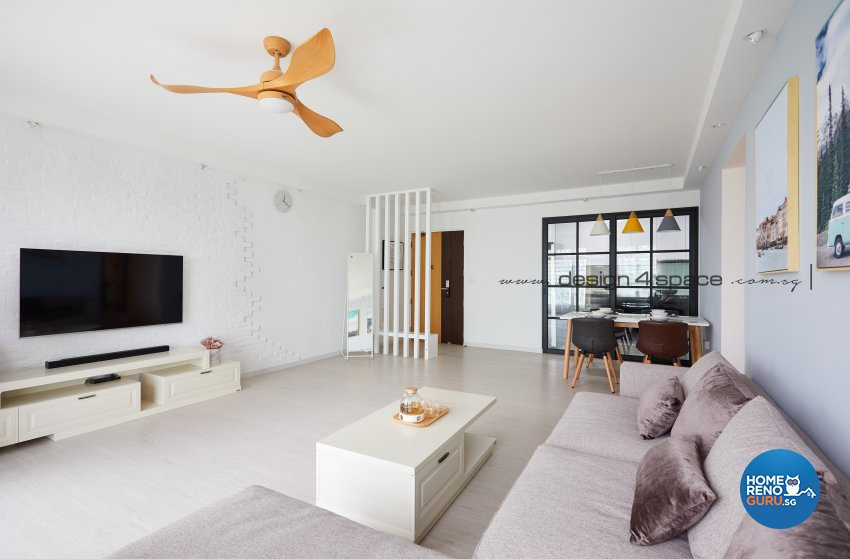 Minimalist, Scandinavian Design - Living Room - HDB 5 Room - Design by Design 4 Space Pte Ltd