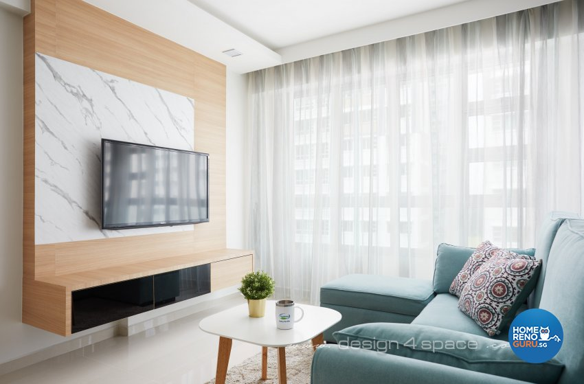 Contemporary, Scandinavian Design - Living Room - HDB 5 Room - Design by Design 4 Space Pte Ltd