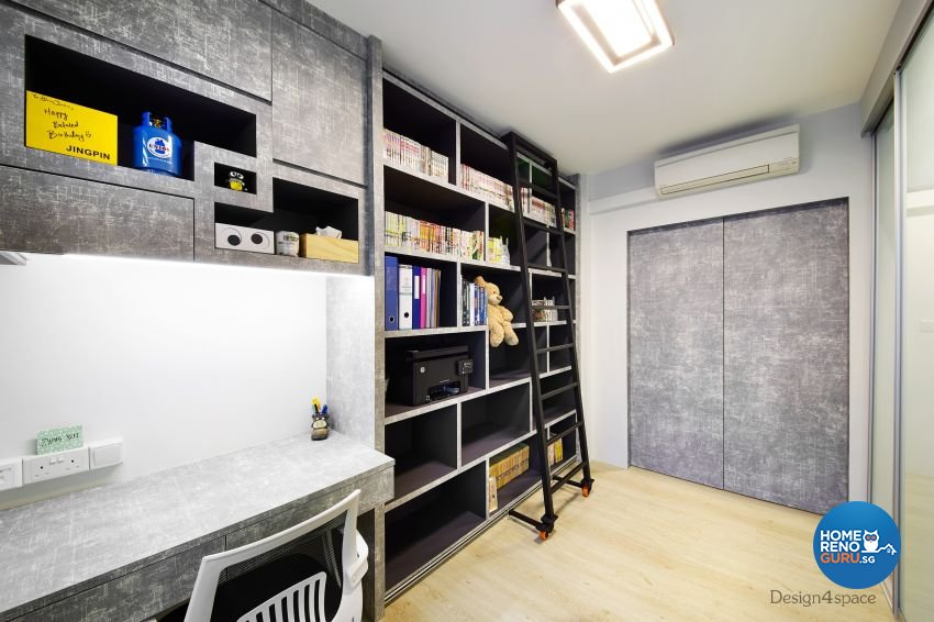 Industrial, Scandinavian Design - Study Room - HDB 5 Room - Design by Design 4 Space Pte Ltd