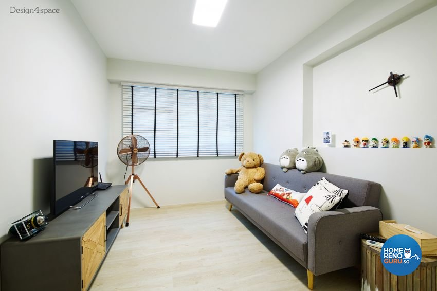 Industrial, Scandinavian Design - Entertainment Room - HDB 5 Room - Design by Design 4 Space Pte Ltd